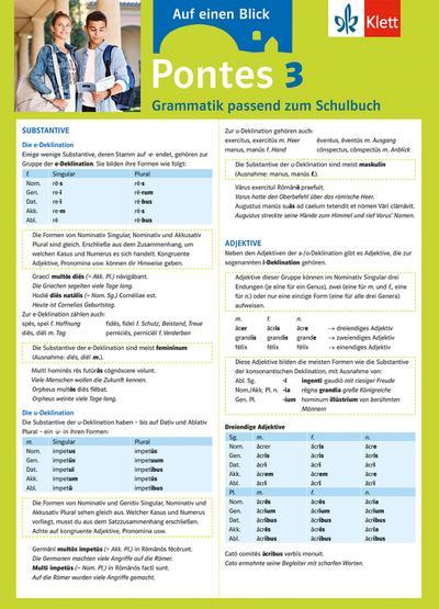 Pontes 3 - Auf einen Blick. Grammatik passend zum Schulbuch