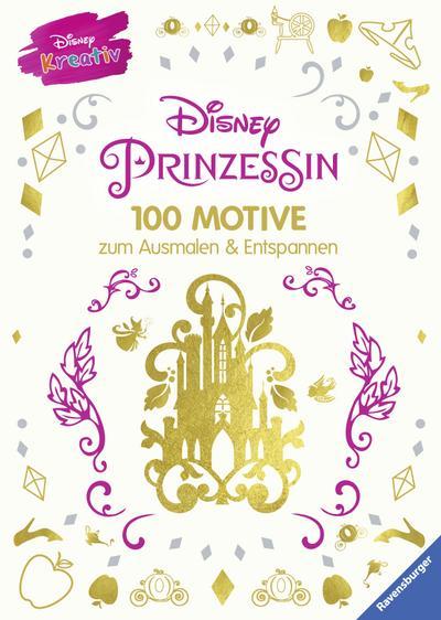 Disney kreativ: Disney Prinzessin - 100 Motive zum Ausmalen und Entspannen; Deutsch; durchg. s/w Ill. u. Text