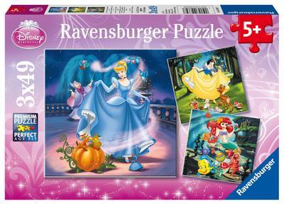 Disney Princess: Schneewittchen, Aschenputtel, Arielle. Puzzle 3 x 49 Teile