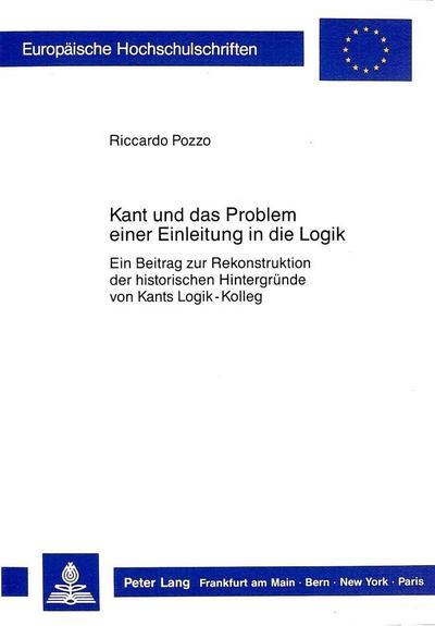 Kant und das Problem einer Einleitung in die Logik