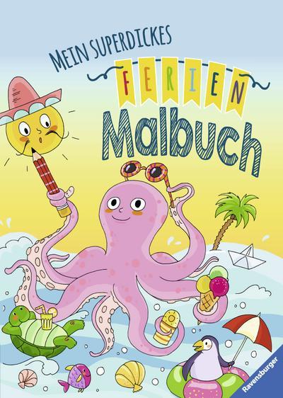 Mein superdickes Ferienmalbuch; Ill. v. Lohr, Stefan/Pustlauk, Thilo; Deutsch; durchg. schw.-w. Ill.