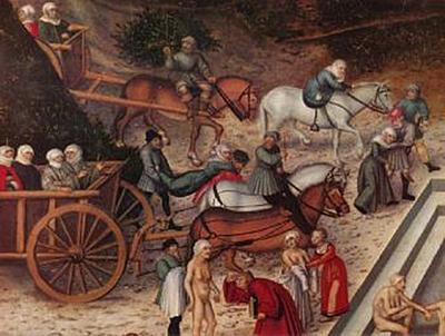 Lucas Cranach d. Ä. - Der Jungbrunnen, Detail: Ankunft der alten Weiber - 200 Teile (Puzzle)