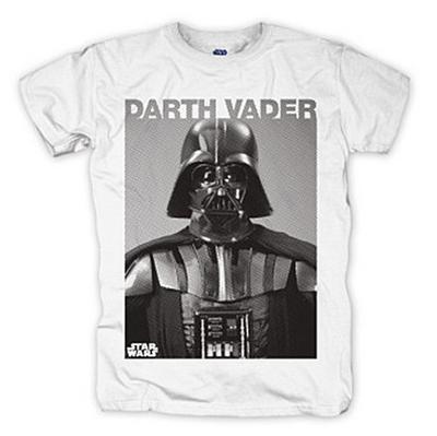 Bravado Herren T-Shirt Star Wars - Darth Vader Photo, Gr. Large, Weiß (Weiß 002)