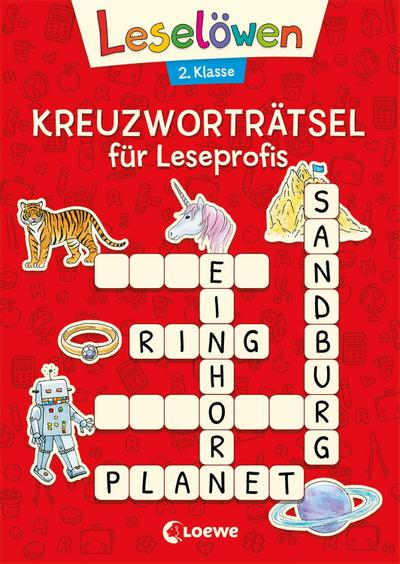Leselöwen Kreuzworträtsel für Erstleser. 2. Klasse (Rot)