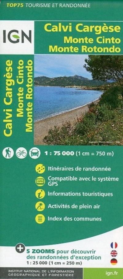 IGN 75 000 Touristische Wanderkarte Calvi Cargesse Monte Cin