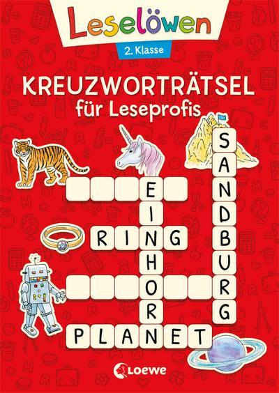 Leselöwen Kreuzworträtsel für Leseprofis - 2. Klasse: Rot