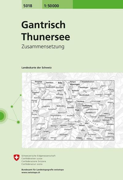 Swisstopo 1 : 50 000 Gantrisch Thunersee