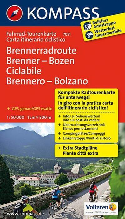 Kompass Fahrrad-Tourenkarte Brennerradroute Brenner - Bozen - ciclabile Brennero - Bolzano