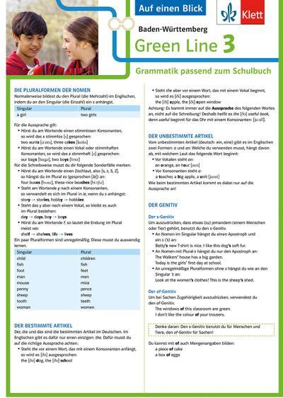 Green Line 3 - Auf einen Blick.  Baden-Württemberg Klasse 7. Grammatik passend zum Schulbuch - Klappkarte (6 Seiten)