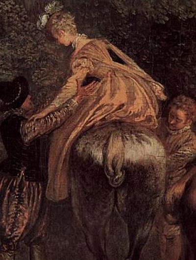 Antoine Watteau - Treffen zur Jagd (Rendez-vous de chasse), Detail - 200 Teile (Puzzle)