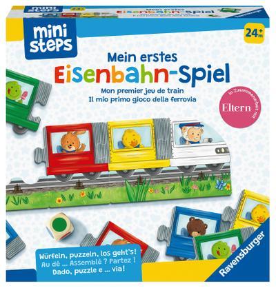Ravensburger ministeps 4187 Mein erstes Eisenbahn-Spiel, Erstes Würfel- und Puzzlespiel zum Farbenlernen, Spielzeug ab 2 Jahre