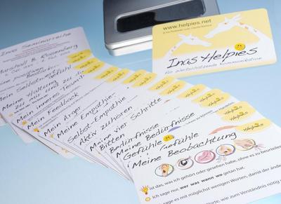 Inas Helpies für Wertschätzende Kommunikation: Kartenset in Metallbox mit Sichtfenster
