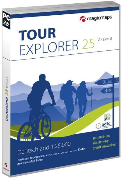 TOUR Explorer 25 - Deutschland Gesamt 8.0 - Magic Maps - DVD-ROM, Englisch| Deutsch, MagicMaps GmbH, Digitale Karten, Tourenplanung und GPS, Digitale Karten, Tourenplanung und GPS