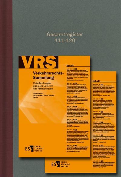 Verkehrsrechts-Sammlung (VRS)Gesamtregister Band 111-120