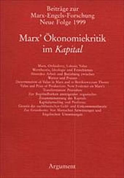 Beiträge zur Marx-Engels-Forschung Bd. 9: Marx' Ökonomiekritik im Kapital