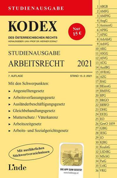 KODEX Studienausgabe Arbeitsrecht 2021