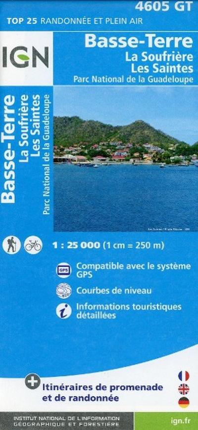 Basse Terre / La Soufrière - Les Saintes - Parc National de la Guadeloupe 1 : 25 000
