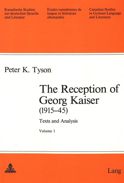 The Reception of Georg Kaiser (1915-45)