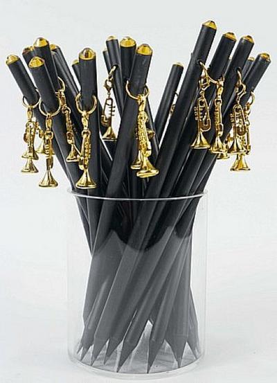 Bleistift mit Anhänger Trompete golden/Kristall
