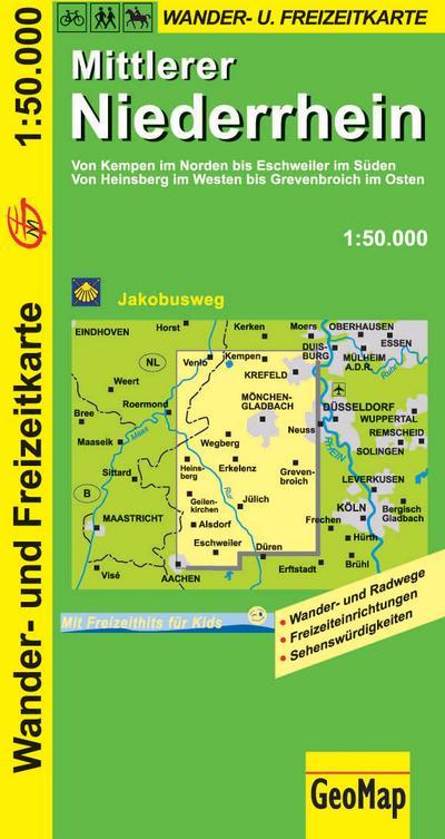 Mittlerer Niederrhein Wanderkarte 1 : 50 000