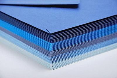 Farblich sortierte Umschläge & Karten Blau als Set