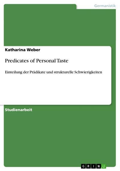 Predicates of Personal Taste