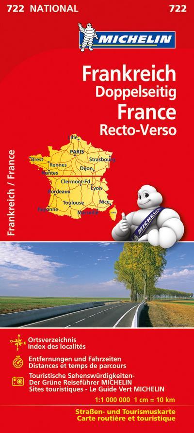 Frankreich 1 : 1 000 000 doppelseitig Nationalkarte