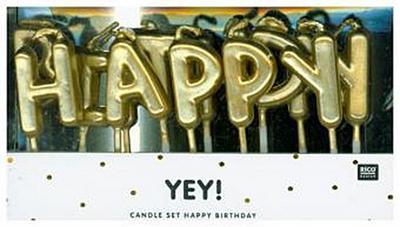 Zahlenkerze für Geburtstagskuchen Kindergeburtstag Kerze mit Zahl in Gold (Happy Birthday, Gold) - Rico Design - Spielzeug, Deutsch, , ,