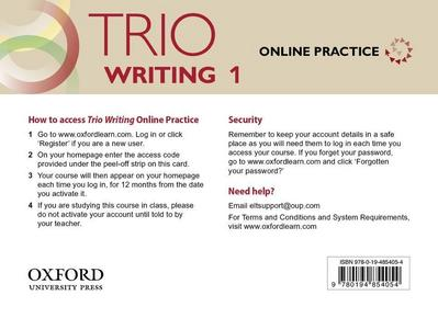 Trio Writing: Level 1. Online Practice Student Access Card