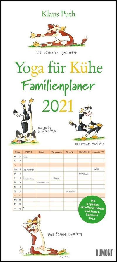 Yoga für Kühe Familienplaner 2021 - Wandkalender - Familien-Kalender mit 6 Spalten - Format 22 x 49,5 cm