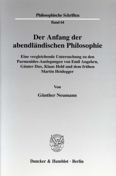 Der Anfang der abendländischen Philosophie