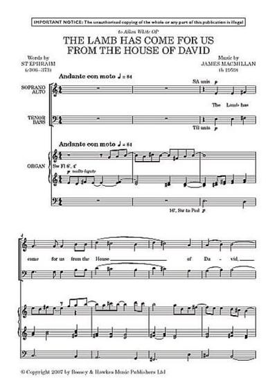 The Lamb has come for us from the House of David: gemischter Chor (SATB) und Orgel. Orgelauszug.