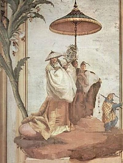 Giovanni Domenico Tiepolo - Fresken in der Villa Vallmarana, Vicenca, Landschaft mit Mandarinenbaum - 200 Teile (Puzzle)