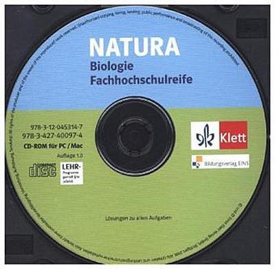 Natura, Biologie Fachhochschulreife 11.-13. Schuljahr, Lösungen zu alle Aufgaben, CD-ROM