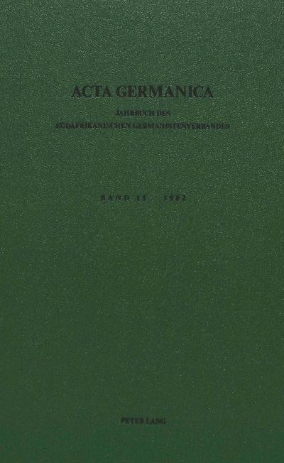 Acta Germanica. Bd. 15, 1982