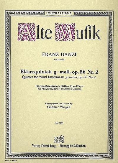 Quintett g-Moll op.56,2 :für Flöte, Oboe, Klarinette, Horn in F und Fagott