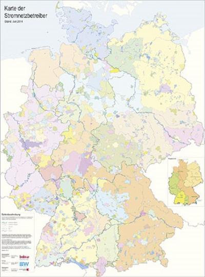 Karte der Stromnetzbetreiber 2014: Wandkarte - EW Medien Und Kongresse - Landkarte, Deutsch, , Wandkarte. Hrsg.: BDEW; Lutum + Tappert, Wandkarte. Hrsg.: BDEW; Lutum + Tappert