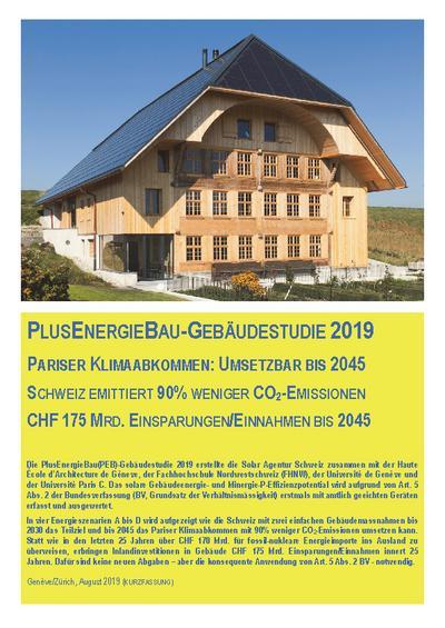 PlusEnergieBau-Gebäudestudie 2019