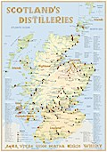 Whisky Distilleries Scotland Poster 100 x 70cm