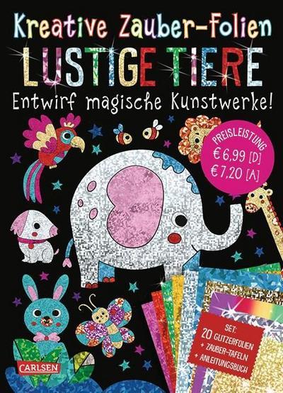 Kreative Zauber-Folien: Lustige Tiere: Set mit 10 Zaubertafeln, 20 Glitzerfolien und Anleitungsbuch