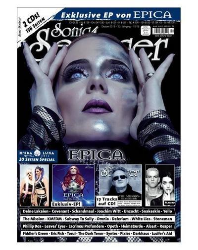 Sonic Seducer 10-2016 mit Epica Titelstory + 2 CDs, darunter eine exkl. EP zum Album The Holographic Principle von Epica + M'Era Luna Special, Bands: Placebo, Deine Lakaien, Schandmaul u.v.m.