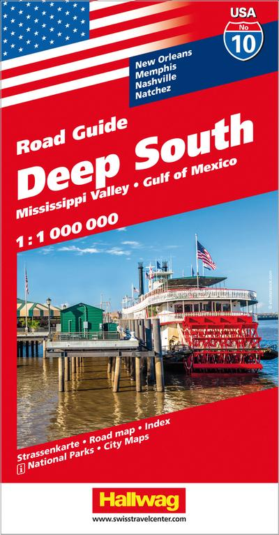Hallwag USA Road Guide 10 Deep South 1:1.000.000