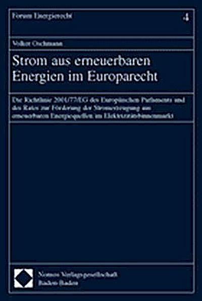 Strom aus erneuerbaren Energien im Europarecht