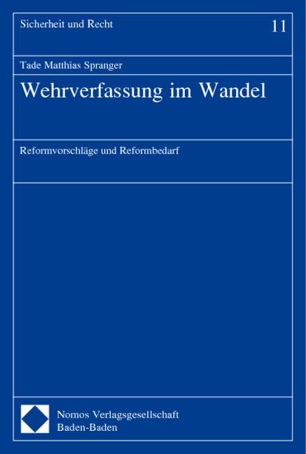 Wehrverfassung im Wandel Tade Matthias Spranger